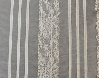 Tan Valerie Band Stripe Lace Fabric by the bulk style 592-LACEEMB-TAN