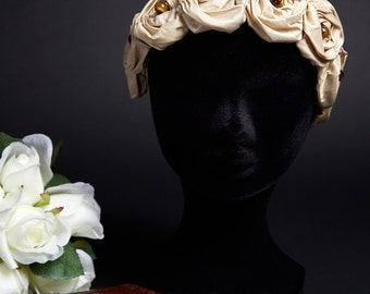 Crown Headband Nude Gold Silk Roses Haute Couture Tiger Eye Beads