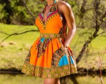 African Print Halter Top Dress
