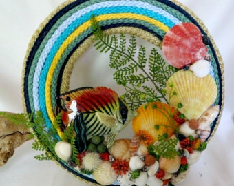 Tropical beauty fish and seashell wreath_Beach decor