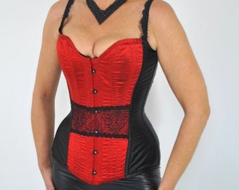 Corset red silk and lace
