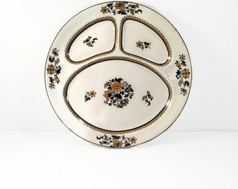 """Booths Silicon China """"Ceylon Ivory"""" Perfector Divided Floral Plates"""