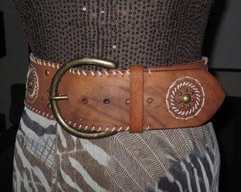 Stunning Vintage  Miss June Womens Wide Tan Leather Belt , Brass Rivets , Brass Buckle , Heavy Gauge Leather