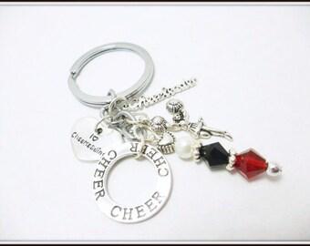 Cheerleading Keychains, Pom Poms, Cheerleader Charms, Cheer Favors, Accessories, Cheer Gifts, Cheerleader Presents, Red & Black, Keyrings
