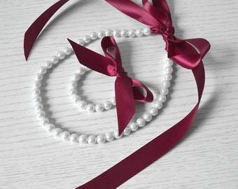 Burgundy Red ribbon pearl set,white pearl, Little Girl Pearl and ribbon Necklace and Bracelet set ,flower girl gift or first pearls.