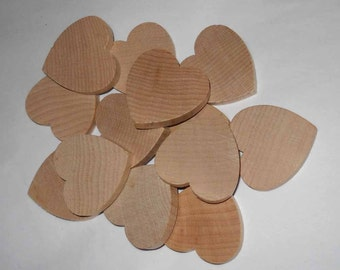 Twelve Wood Hearts, 1 1/2 inch Unfinished Wooden Hearts