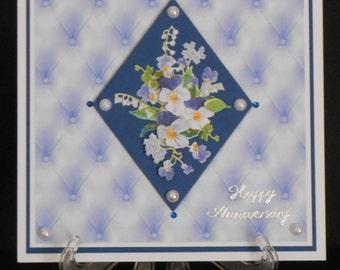Blue Pansies & Pearls 8 x 8 Anniversary Card