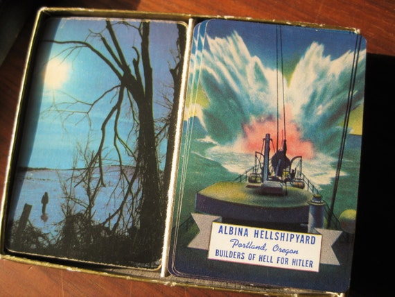 "Albina Hellshipyard playing cards.  ""Builders of Hell for Hitler."" WWII Militaria. 1939. Card deck. Portland, Oregon. Shipyards."