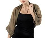Promo Sale Bronze-Black Evening Silk Chiffon Bolero Jacket Shrug / Sizes XS - 4XL Collection FIRST Lady