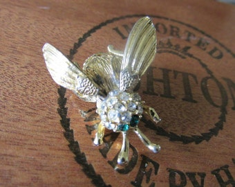 "Vintage TREMBLER FLY/BEE Brooch Gold Plating Rhinestone Accents Measures 1 1/2"" x 1 1/4"" Unsigned Ladies Brooch All Occasion Gift Insects"