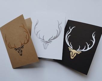3 Hand-cut Reindeer Cards