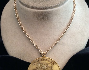 Vintage Long Goldtone 1976 Olympic Games Pendant Necklace