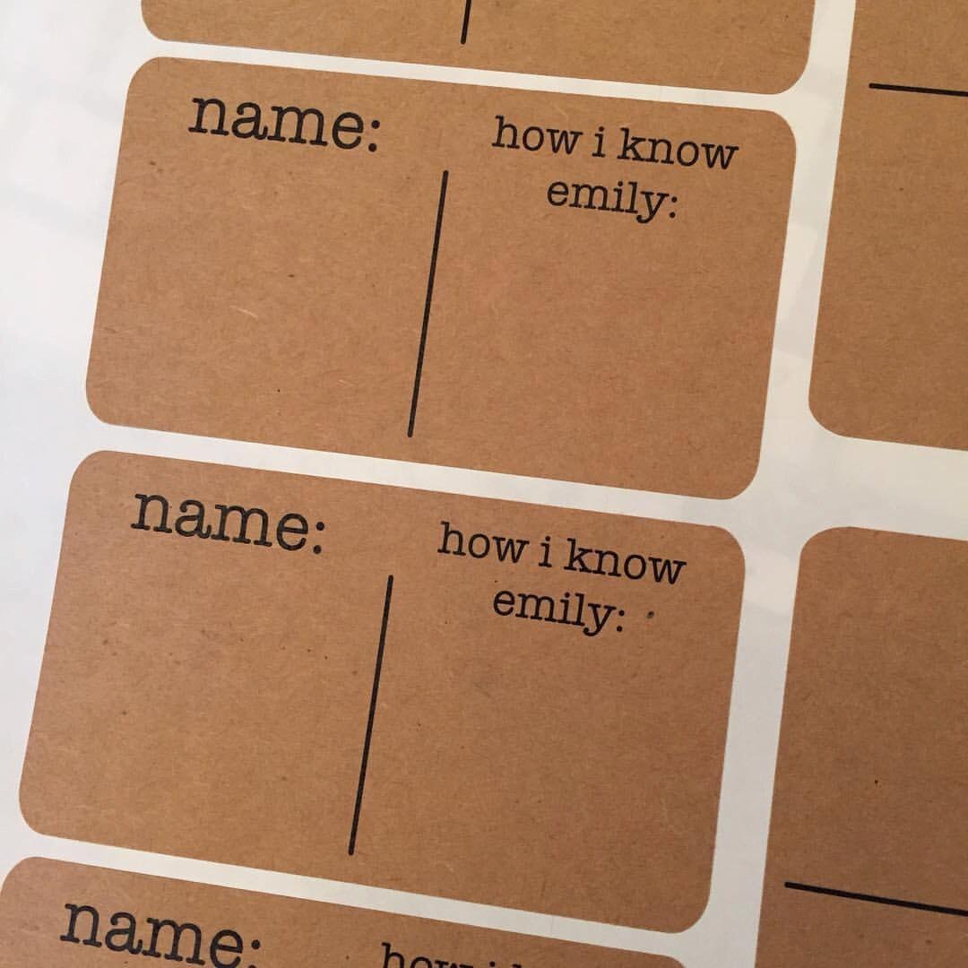 bridal shower name tag sticker kraft name tag baby shower