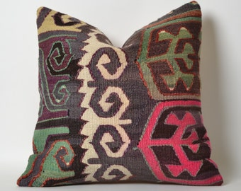 Kilim Pillows - 16x16 Ethnic Home Decor Cushion Cover Handwoven Tribal Anatolian Turkish Decorative Pillow For Couch Throw Pillow Pink Green