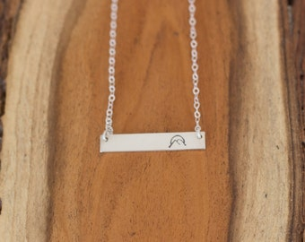 Mountains Sunset Necklace, Mountain Jewelry, Sunset, Sunrise, Silver Bar Necklace, Gift for Her,
