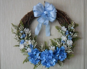 Spring Wreath, Blue Wreath, Front Door Wreath