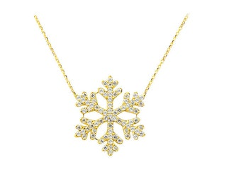 14K Solid Yellow Gold Snow  Necklace
