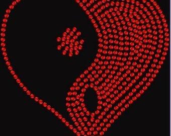 Zen Heart Rhinestone Iron on Transfer 4GK4