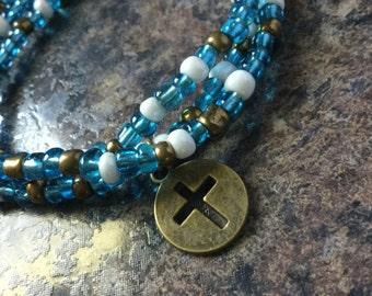 Beachy blue necklace/bracelet combo