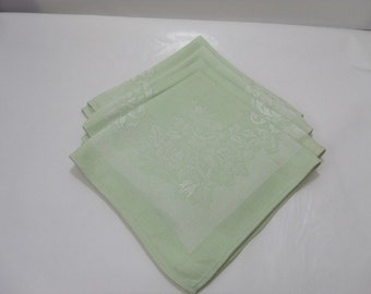 Vintage Damask Linen Napkins/ Rose Pattern, Mint Green