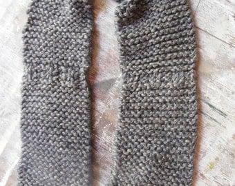 Hand knit brown tweed scarf