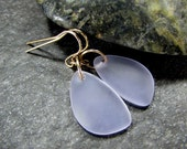 Purple Sea Glass Drop Earrings in Sterling Silver, 14K Yellow Gold Filled or Rose Gold Filled- Beach Glass Jewelry- Gift for Girlfriend