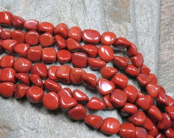 """15% OFF Red Jasper Nuggets - 16"""" strand - Item B0634"""