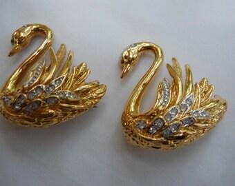 Graceful Marvella swan brooches=pair of signed marvella swan pins with rhinestones=vintage marvella swans=elegant graceful swan pins