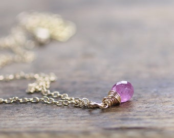 Dainty Pink Sapphire Drop Necklace in 14k Gold Filled or Sterling Silver, Natural Sapphire Jewelry, Delicate Pink Gemstone Necklace Pendant