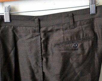 Vintage IVY STYLE Brown Sharkskin Trousers Flat Front Belt Loops Size 32x26 High Rise Short Slim Leg Highwater