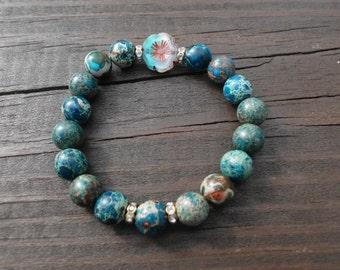 Czech glass pansy flower bead stretch bracelet/Imperial jasper/aqua terra jasper/Hawaiian/Island/summer/boho chic/beachy glam/gemstones