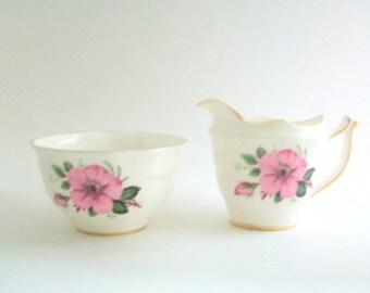 Cream & Sugar Set, Pink and White Cream and Sugar, Floral Creamer, Floral Sugar Bowl, Vintage Cream and Sugar Set, Flower Print Creamer
