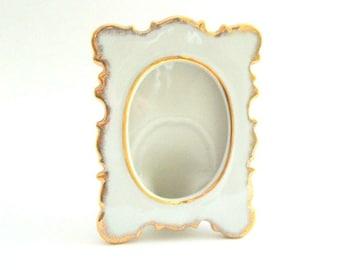 Vintage Picture Frame, Vintage Frame, Porcelain PIcture Frame, Porcelain Frame, White Picture Frame, Gold Picture Frame, Open Frame