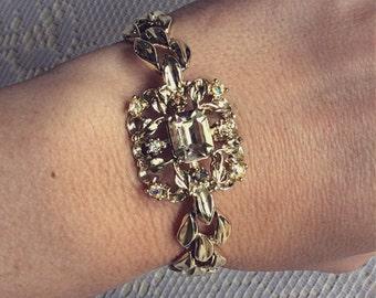 Vintage Coro Goldtoned Bracelet with Aurora Borealis Rhinestones