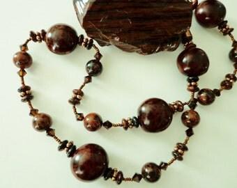 Deep Rich Mahogany Obsidian Gemstone Beads Necklace, Mahogany & Black Natural Bibokao Seeds Beaded Necklace
