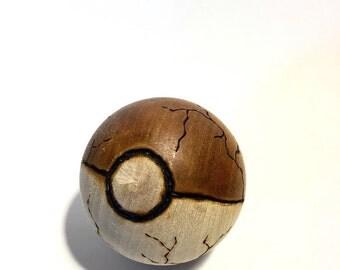 Electric Type Wood-Burned Pokeball (solid hardwood) for the Pokemon fan