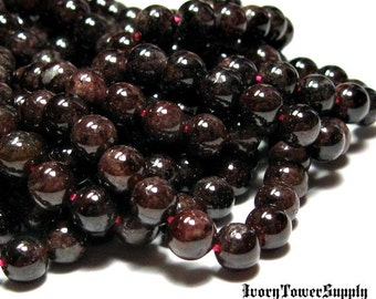 1 Strand 6mm Garnet Beads, Gemstone Beads, Semi Precious Beads, Natural Stone Beads, Red Beads, Round Beads