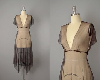 90s Dress // 1990's Chocolate Brown Net Asymmetrical Dress // S-M