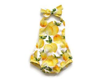 Baby Girl Romper Yellow Lemon Print / Kid Romper / Baby Girl Outfit / Toddler Romper / Children / Infant Romper / Baby Shower Gift