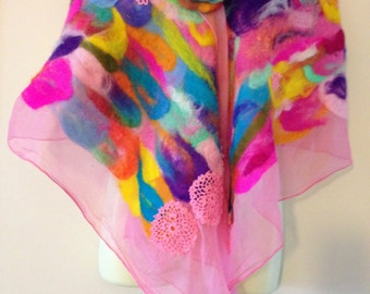 Colourful             Nuno rainbow felted shawl