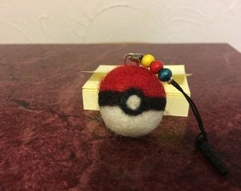 Handmade Needle Felted Pokeball Zipper Pull/Keychain or Headphone Jack Plug-Your Choice!
