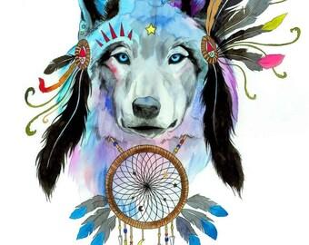 Spirit wolf - signed Art Print