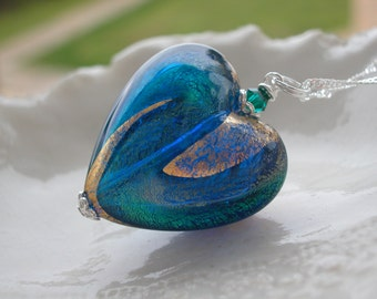 Venetian Murano Glass Heart Necklace - Huge