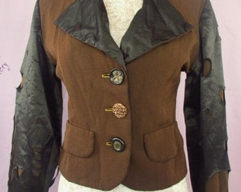 M - Funky Quirky Lined Cotton Jacket Upcycled Chic