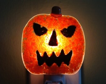 Jack-O-Lantern, Pumpkin, Fused Glass, Night Light