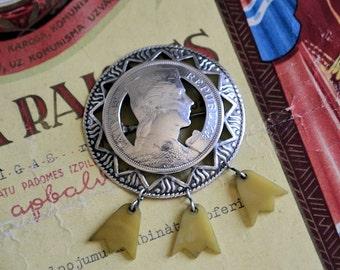Silver Latvian coin brooch//Latvian 5 lati 1929//Women's  silver brooch //USSR time Latvia//Nacional Silver Brooch//Silver jewelry//