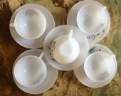 Retro French Arcopal glass expresso coffee set of 5 white pastel/harlequin glass  cups & saucers
