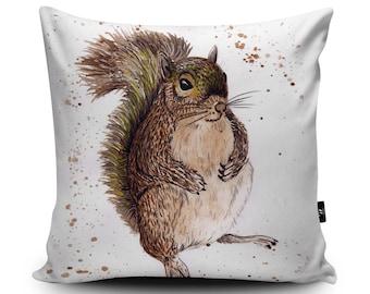 Squirrel Cushion, Squirrel Cushion, Garden Wildlife Cushion, Woodland Pillow, Red Squirrel, Grey Squirrel, Decorative Cushion, by Katherine