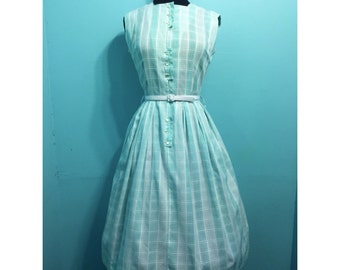 Vintage 1950s Arlele Fashions Teal and White Plaid Day Dress