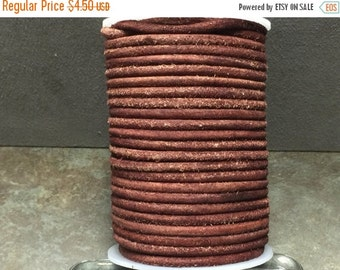 On Sale NOW 25%OFF 4mm Top Quality Round Leather Cord - Vintaged  Cognac   - 1 Meter